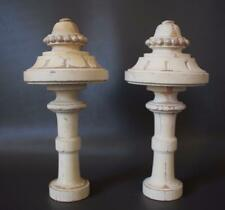 Gustavian Architectural Pair of White Curtain Rod Wood Finials or Newel Post 2
