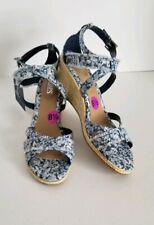 e3ee4f17d9d6 Chaps Women s Blue Floral Wedge Sandals Size 8.5 NWT