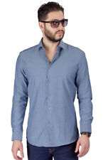 Charcoal Slim Fit Men's Dress Shirt Solid Color Long Sleeves Spread Collar Azar