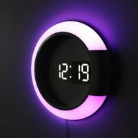 LED Mirror Hollow Wall Clock Home Decor Alarm Snooze Luminous Digital Wall Clock