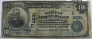 1902 $10 PB NATIONAL BANK NOTE - CH #5831 CNB WESTERNPORT MD: FR-633 PCGS VG-10