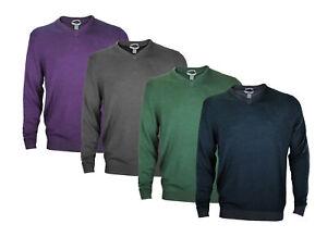 Ashworth Men's Plaited Merino V-Neck Casual Golf Sweater, Several Colors