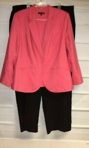 Lane Bryant Orange Lined Blazer Jones Studio Black Dress Pants Suit  22/22W EC!