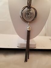 Gun Metal Mesh 28 Inch Necklace With Ring And Crystal Tassel Pendant