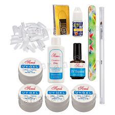 500PCS White France Nail Art Kit - UV Gel Glue Nail Forms Nail File Brush Set