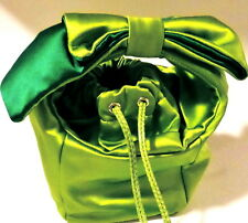 RARE AUTH KATE SPADE SATIN BABETTE SPRING EMERALD LIME GREEN BOW BEAU $395