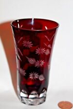 vintage red cut to clear crystal glass vase