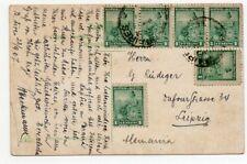 1907 ARGENTINA TO GERMANY COLOR POSTCARD, SARMIENTO AVENUE, FUMAGALLI
