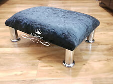 Footstool  Pouffe Stool Queen Anne Legs British Made black Crushed Glitz Velvet