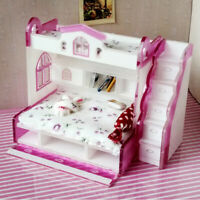 1/12 Dollhouse Miniature Bedroom Bunk Bed Set with Step Furniture (Purple)