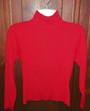 Womens Worthington Petite PS Red Glittery Ribbed Pullover Turtleneck Sweater