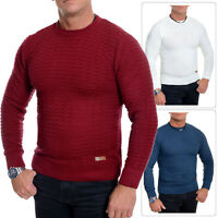 Men's Jumper Striped Knitwear Smart Long Sleeve Sweater Crew Neck Top Slim Fit