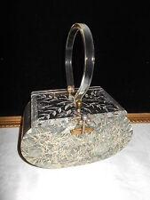 Vintage 60s Carved Lid  Silver Pearl Confetti Lucite Plastic Box Purse