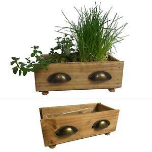 2 Schubladen aus Holz im Set - Blumentopf Töpfe Pflanzkübel Blumenkasten Gefäß