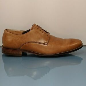 COLE HAAN Mens 10.5M Walnut Light Tan Leather Derby Lace Up Oxfords Dress Shoes