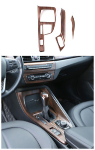 wood grain Interior Console Gear Shift Panel Cover 2PCS For BMW X1 2016-2020 F48