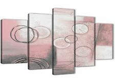 5 Piece Blush Pink Grey Painting Abstract Office Canvas Decor - 5433 - 160cm