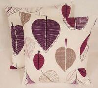 "14"" 16"" 18"" 20"" New Cushion Cover Purple Lilac Beige Apple Leaf Print Handmade"