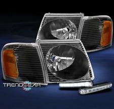 FOR 2001-2005 FORD EXPLORER SPORT TRAC BLACK HEADLIGHTS HEADLAMPS W/LED DRL KIT
