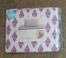 Jessica Simpson Charlene Ikat White w/Purple 4 Pc Queen Sheet  Set NWT