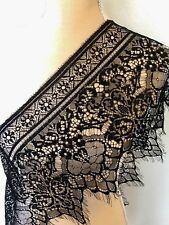"3 Yards Black Floral Embroidered Eyelash Mesh Lace Trim/ Sewing/Crafts/ 10"" Wide"