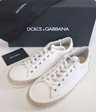 NIB Authentic DOLCE & GABBANA White Canvas & Leather Fashion Sneakers Shoes 6