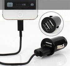 Small Black Car Charger Adaptor Bullet Shaped Dual USB 2-Port for Phone MP3 CA