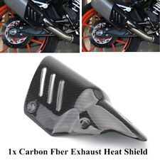 Black Motorcycle Bike Exhaust Pipe Carbon Fiber Cover Protector Heat Shield Part