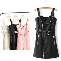 Fashion Women Leather Bib & Brace Dress Suspender Strap Skirt Sleeveless Zipper