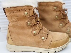 Womens Sorel Explorer Joan Ash Brown Waterproof Boots Size UK 5
