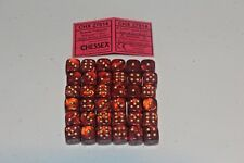 Chessex Scarlet Red with Gold 36 Scarab 12mm Pipped Dice CHX 27814