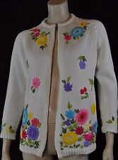 Vintage Acrylic White with Multi Color Floral Embroidered Cardigan Sz M