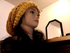 Slouchy Mustard Yellow Lacy Crocheted Ladies Beanie Womens Accessory Hat SML