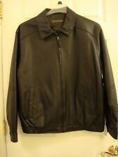Men's ST. JOHN'S BAY Black LEATHER Zipper Front  Lined JACKET L New with Tags