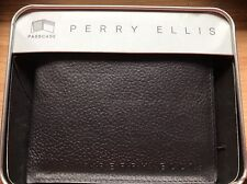 BRAND NEW PERRY ELLIS PASSCASE WALLET IN ORIGINAL BOX WITH TAG BI-FOLD BLACK
