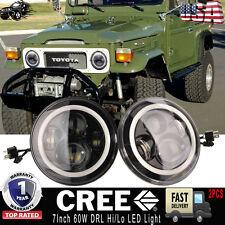 "2PC 7"" CREE LED Hi/Lo Daymaker Headlight For Land Cruiser FJ40, Jeep CJ&Wrangler"