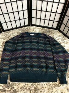 Vintage Jantzen large Mens long sleeve crew  Sweater Blue & black Washable USA