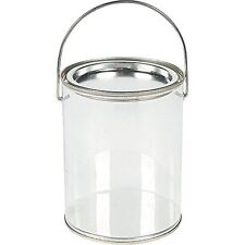 Plastic Clear Paint Can Container Craft Decorating Artist Buckets - Great for Pa