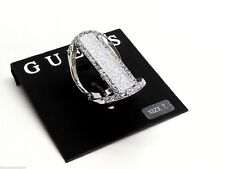 Guess Large Silvertone Ring Crystals Size 7 New! NWT
