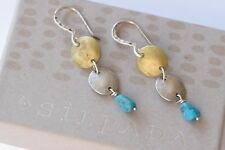 Silpada Sterling Silver Brass Turquoise Bead Three Disc Dangle Earrings W1817