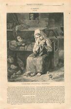 Madelon la Gardeuse d'Enfants Tableau Jean-Baptiste Jules Trayer GRAVURE  1867