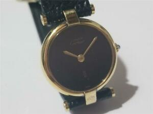 Authentic CARTIER Must de Round Ladies watch Goldplated Black Dial NON WORKING