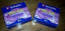 (2 Boxes) Verbatim Dual-Layer DVD+R Discs, 8.5GB, w/Jewel Cases, 5/Pack UpTO 10x
