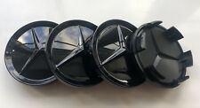 4x GLOSS BLACK SHINEY 64 mm Outer 55mm Inner Centre Caps . Fits Mercedes - Benz