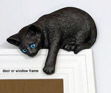 """Black Cat """"Loafer"""" figurine door topper with blue eyes eyes (silhouette)"""