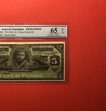 1902-1914 MEXICO-5 PESOS NOTE,GRADED By PCGS 65 OPQ GEM UNCIRCULATED.