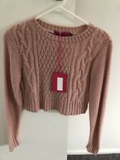 Boohoo pink crop knit size Small