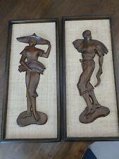 Vintage Mid Century Modern Wood Carved Polynesian Figurines - Wood Framed pair