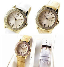 NWT GUESS Swarovski $80 Gold Camel 2 Leather Bands Box Set Womens Watch I80319L