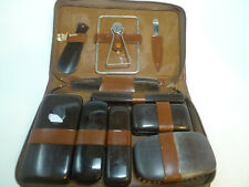 Talon Vtg Cow Hide Men's Grooming Set Brushes Mirror Files Shaver Tums Gillette
